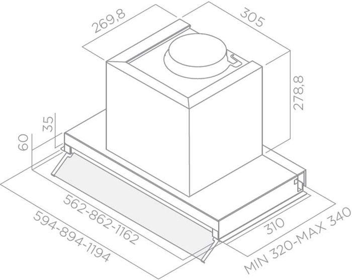Įmontuojamas gartraukis Elica Box In Plus IXGL/A/60