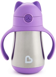 Munchkin Cool Cat Stainless Steel Straw Cup Purple