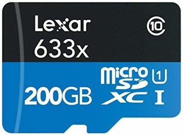 Lexar 200GB High Speed microSDXC x633 UHS-I Card + SD Adapter