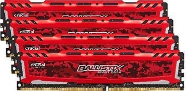Crucial Ballistix Sport LT Red 64GB 3000MHz CL15 KIT OF 4 BLS4K16G4D30AESE