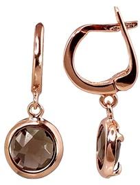 Diamond Sky Gold Earrings With Smoky Quartz Diana II