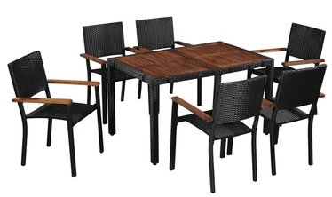 Välimööbli komplekt VLX Outdoor Dining Set 43935, must/pruun, 6 istekohta