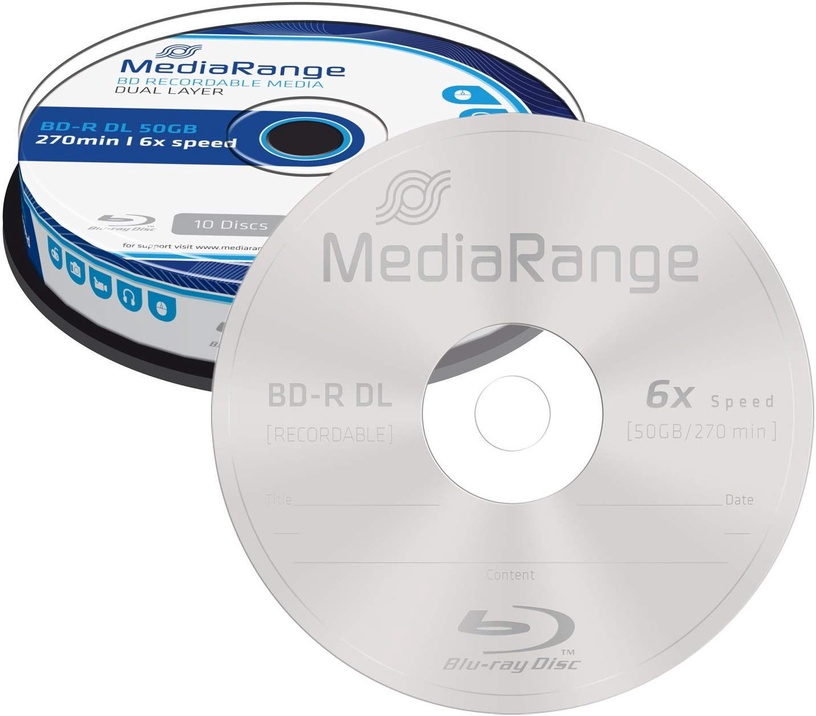 MediaRange BD-R Dual Layer 50GB 10 Pack Spindle