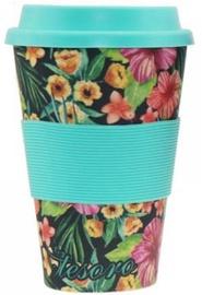 Tesoro 100% Eco Bamboo Fibre Mug With Silicone 480ml Flower Blue