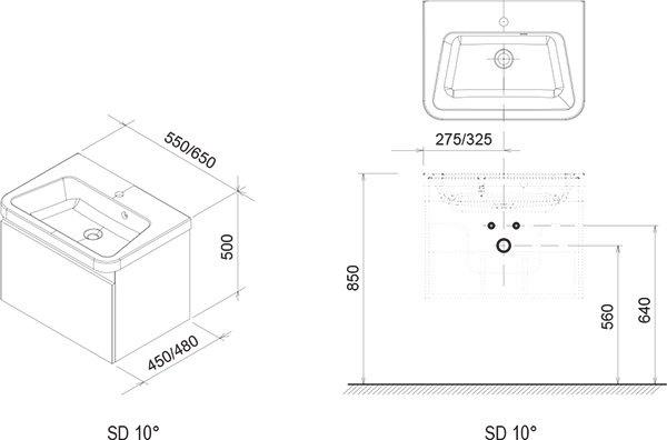 Praustuvo  spintelė RAVAK 10° SD 650, pilka