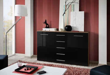 ASM Galino Fox Chest Of Drawers Plum/Black Gloss Front