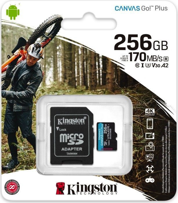 Kingston Canvas Go! Plus 256GB microSDXC UHS-I Class10 w/Adapter