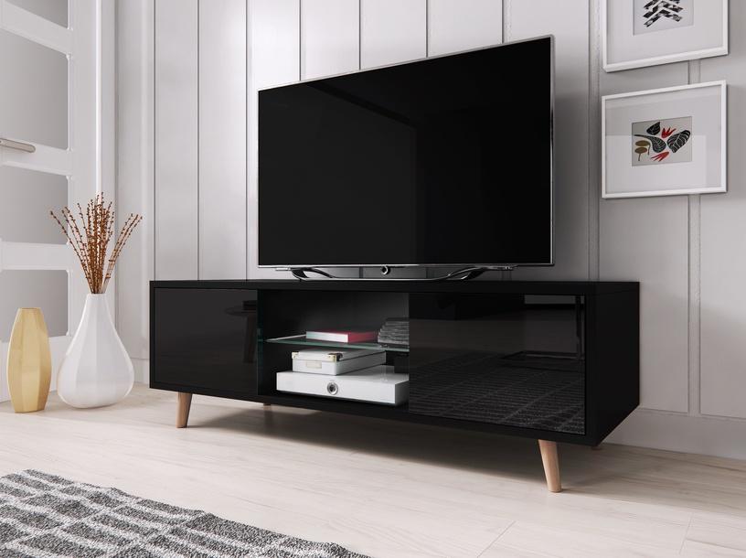 TV staliukas Vivaldi Meble Sweden 1, juodas, 1400x420x450 mm