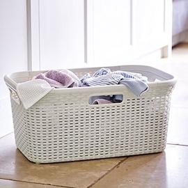 Curver Rattan Laundry Basket 45l Cream