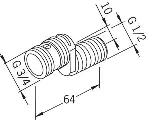 """Savienojums ūdens maisītājam ar aizvaru Ekscentra, vītne ½""""-¾"""", garums 6,4 cm, 2 gab., Oras"""