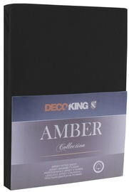 Palags DecoKing Amber, melna, 90x200 cm, ar gumiju