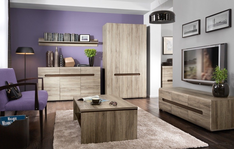 Black Red White Azteca Trio Wardrobe 105x193cm San Remo Oak