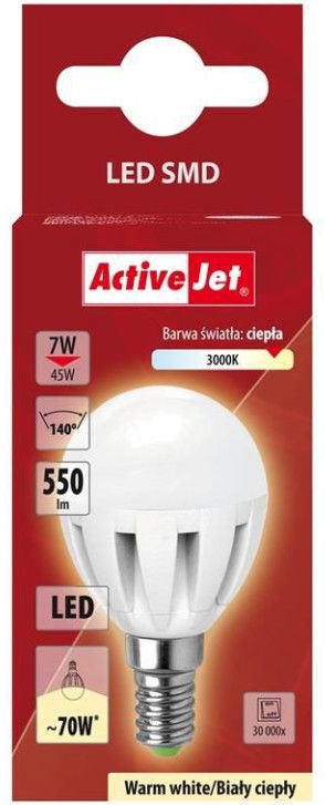 ActiveJet DS4014G LED Globular Light Bulb 7W E14