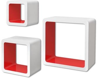 Настенная полка VLX Cube 275984, белый/красный, 23x10x23 см