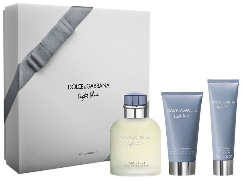 Набор для мужчин Dolce & Gabbana Light Blue Pour Homme 125 ml EDT + 75 ml Aftershave Balm + 50 ml Shower Gel