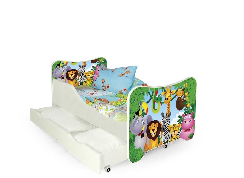 Детская кровать Halmar Happy Jungle Multicolored, 145x76 см