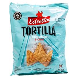 Kukurūzų traškučiai Estrella Tortillla, grietinės ir aitriųjų paprikų skonio, 150 g