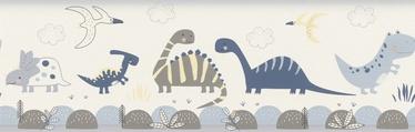 Tapetų juosta, Rasch, 248869, balta, su dinozaurais