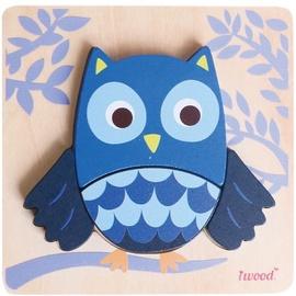 Puzle Iwood Wooden Animal Owl, 4 gab.