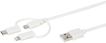 Vivanco USB To Micro USB/USB Type-C/Apple Lightning Cable 1m White