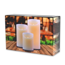 DecoKing Wax LED Candle Set 10/12.5/15cm 3pcs