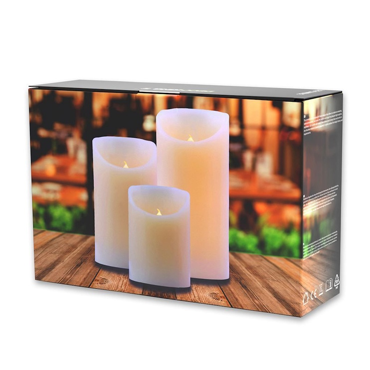 DecoKing Wax LED Candle Set 10/12.5/15cm 3pcs