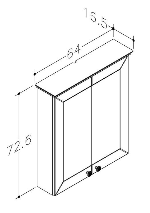 Peegelkapp Siesta 64x16,5x72,6cm