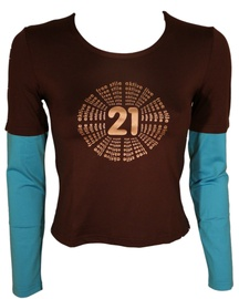 Bars Womens Long Sleeve Shirt Brown/Blue 138 S