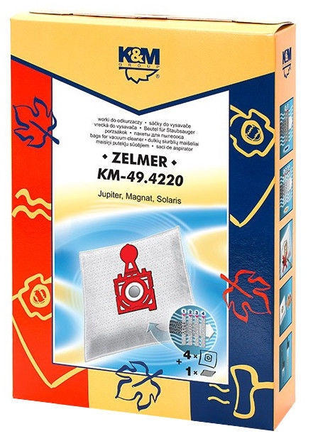 Dulkių siurblio maišelis K&M KM 49.4220 For Zelmer, 4 vnt. + 1 filtras
