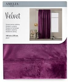 Nakts aizkari AmeliaHome Velvet Pleat, violeta, 1400x2700 mm