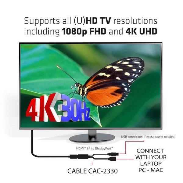 Club 3D HDMI 1.4 To DisplayPort Adapter M/F 0.18m Black