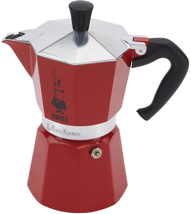 Bialetti Moka Express Stovetop Espresso Maker Red 6 Cups