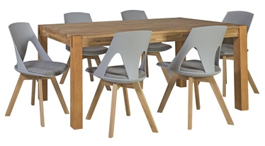 Home4you Chicago/Sanders Dining Room Set Oak/Light Grey