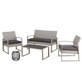 Home4you Victoria Garden Furniture Set w/ LED Lantern Gray