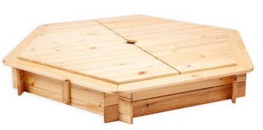 Folkland Timber Sandbox Six Corner With Removable Lid Natural