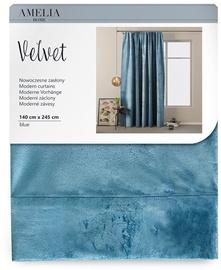 Öökardin AmeliaHome Velvet Pleat, sinine, 1400x2450 mm