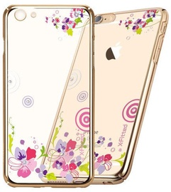 X-Fitted Colorful Floral Swarovski Crystals Back Case For Apple iPhone 6/6s Gold