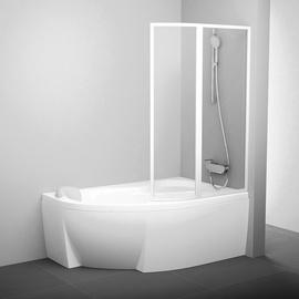 Vonios sienelė VSK2 Rosa 140 R baltas + stiklas Transparent