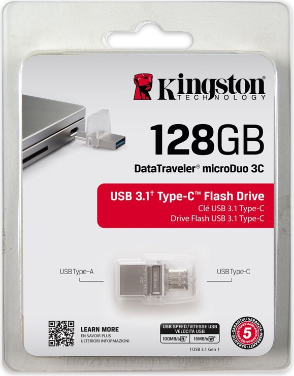 Kingston 128GB DataTraveler microDuo 3C USB 3.1 Grey