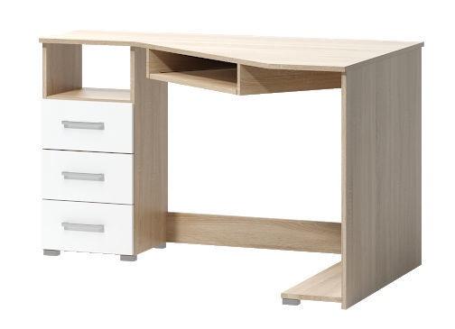 Rašomasis stalas WIPMEB Tatris 17 Left Sided, baltas/ąžuolo