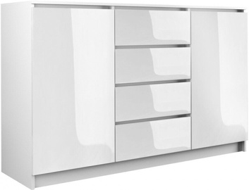 Komoda Top E Shop 2 Doors 4 Drawers White Gloss 140cm