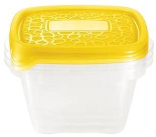 Curver Food Container Set 3PCS Square 1.1L Take Away Twist Orange