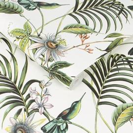 Tapetas flizelino pagrindu, Graham & Brown, 106975, Paradise, baltas su žaliais paukščiais