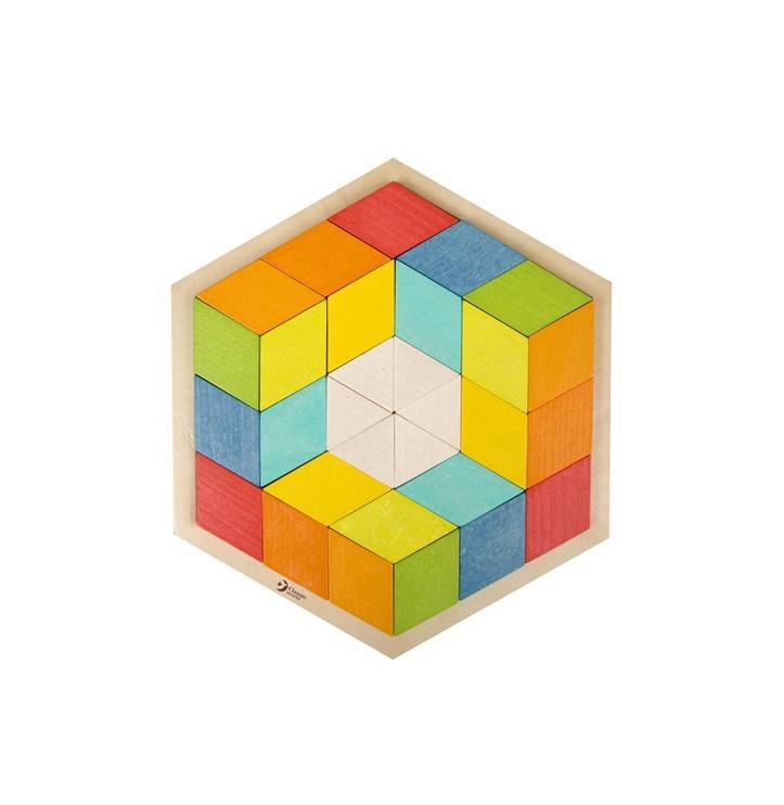 Lavinamasis žaislas, šešiakampis, medinis