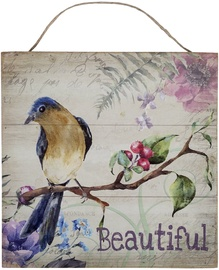 Home4you Wooden Printed Picture Country 30x30cm Beautiful Bird 83763