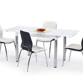 Обеденный стол Halmar L31, прозрачный/белый, 1100 - 1700x740x760мм