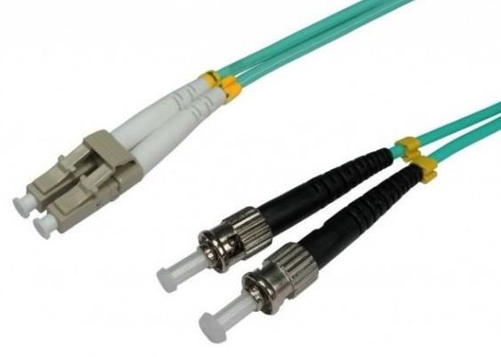 Intellinet ST-LC Fiber Optic Patch Cable OM-3 Green 1m