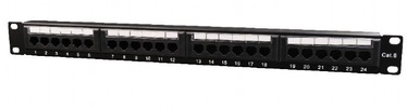 Gembird Patch Panel 19'' CAT6 24-Port 1U Black