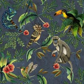 Flizelino pagrindo tapetas Ecodeco EE22535 tamsiai pilkas su beždžionėmis