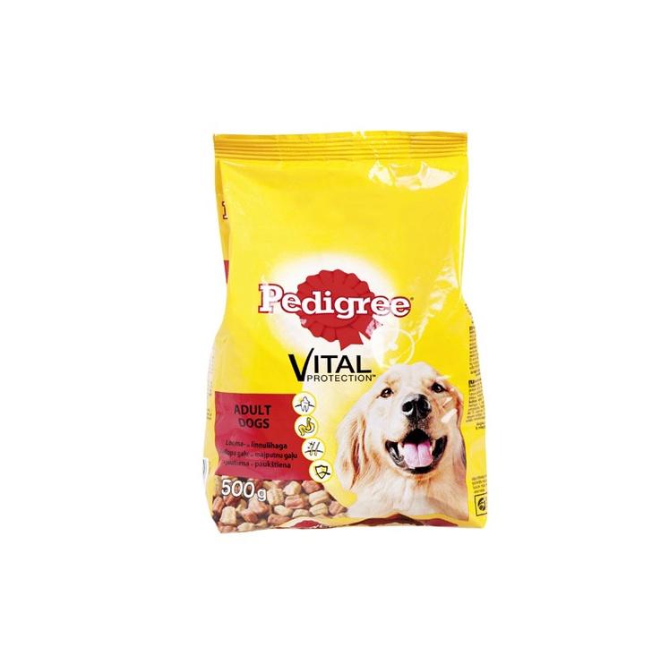 Sausas ėdalas suaugusiems šunims Pedigree Vital Protection Adult, su jautiena ir paukštiena, 0.5 kg
